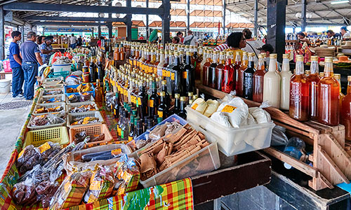 Homemade liquors on sale in the Grand Marché of Fort-de-France Martinique