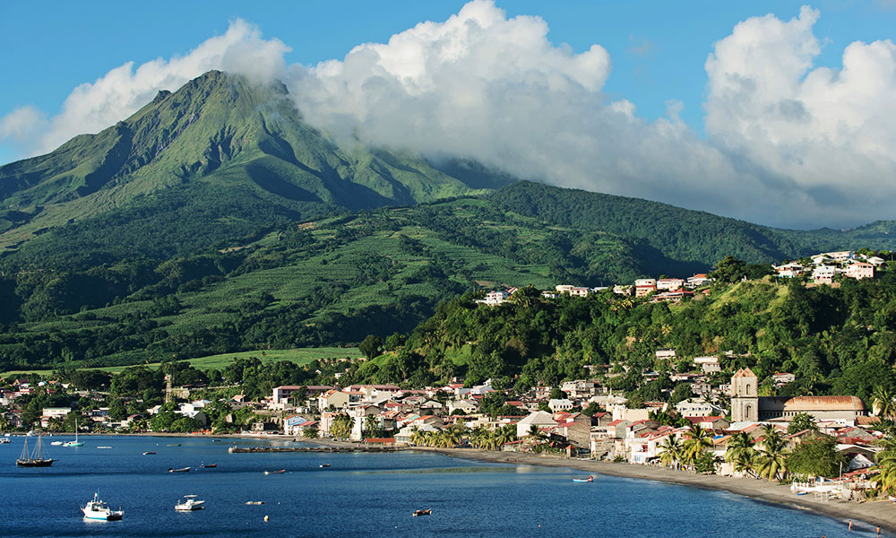Mount Pelee beachside City of Saint-Pierre in Martinique